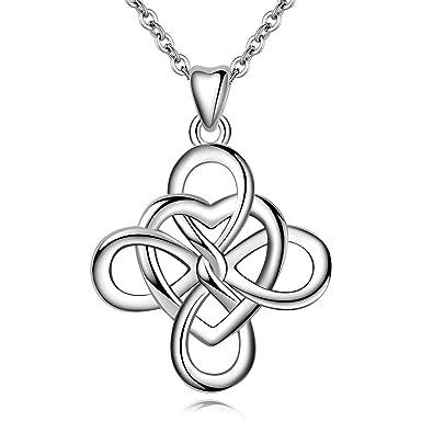 98cee881dd379 AEONSLOVE Amour Infini Noeud Celtique Argent Sterling 925 Collier Pendentif  Cœur pour Femme Bijoux Cadeau