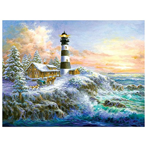 DIY 5D Diamond Painting by Number Kits, Crystal Rhinestone Embroidery Paint with Diamonds, Full Drill Canvas Art Picture for Home Wall Decor, Lighthouse, 13.58x16.92in