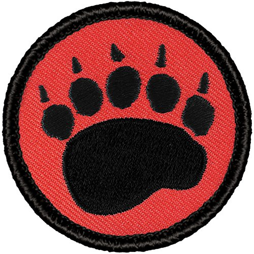 Retro Red and Black Bear Claw Patrol Patch - 2