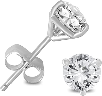 AGS Certified 1//4ct TW Round Diamond Stud Earrings in 14K White Gold
