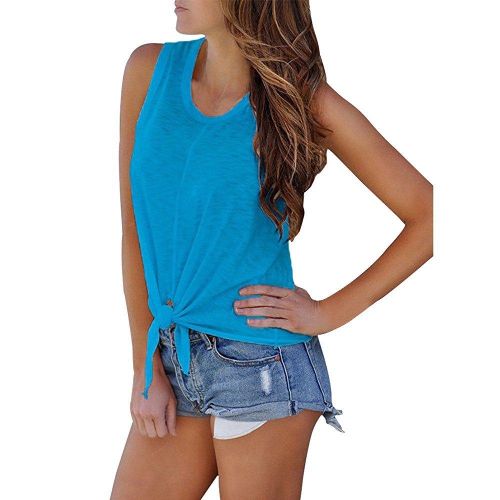 Hot Tank Tops,Women's Summer O Neck Sleeveless Shirt Blouse Front Tie Knot Cami T Shirt Tops Blue