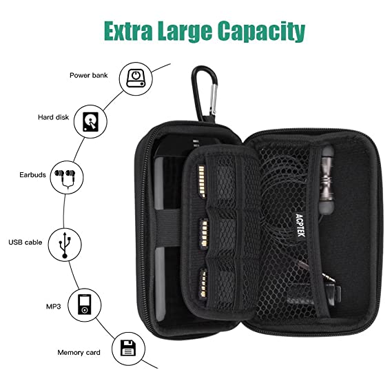 AGPTEK EVA Shockproof Hard Drive Carrying Case,Travel Carrying Case for 2.5-inch Portable External Hard Drive-Transcend 1 TB,2TB, Kingston MLWG2, ...