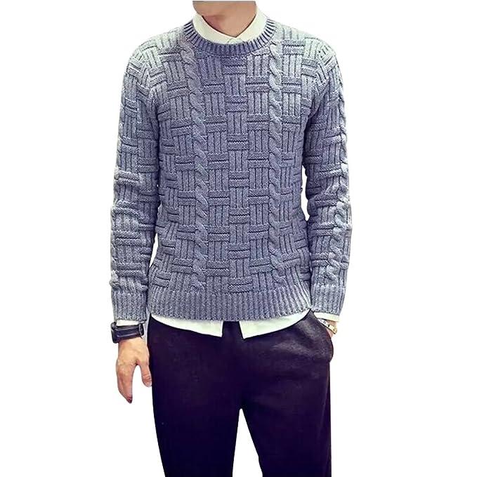 BOMOVO Jersey de punto Chaqueta tricot Cuello redondo sólido (Negro/gris/beige)