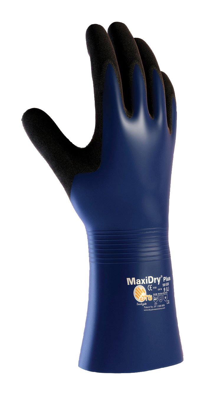 MaxiDry Plus 56-530/XXL Nitrile Coated Glove with Nylon/Lycra Liner and Non-Slip Grip on Palm and Fingers