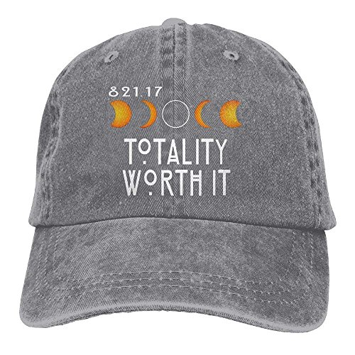 Totality Worth It Funny Total Solar Eclipse 2017 Denim Adjustable Baseball Hat