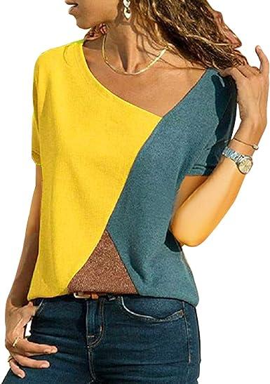UPhitnis Camisa de Manga Corta Mujer Camisas Mujer Verano Blusa Sin Mangas Elegante Casual Cuello V Blusa Rayadas Patchwork Elástico Tops: Amazon.es: Ropa y accesorios