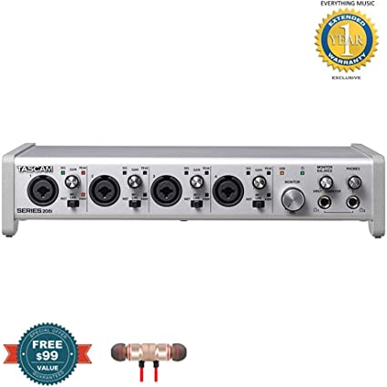 Tascam SERIES 208i 20 IN//8 OUT USB Audio//MIDI Interface includes Free Wireless Earbuds Stereo Bluetooth In-ear and 1 Year Everything Music Extended Warranty