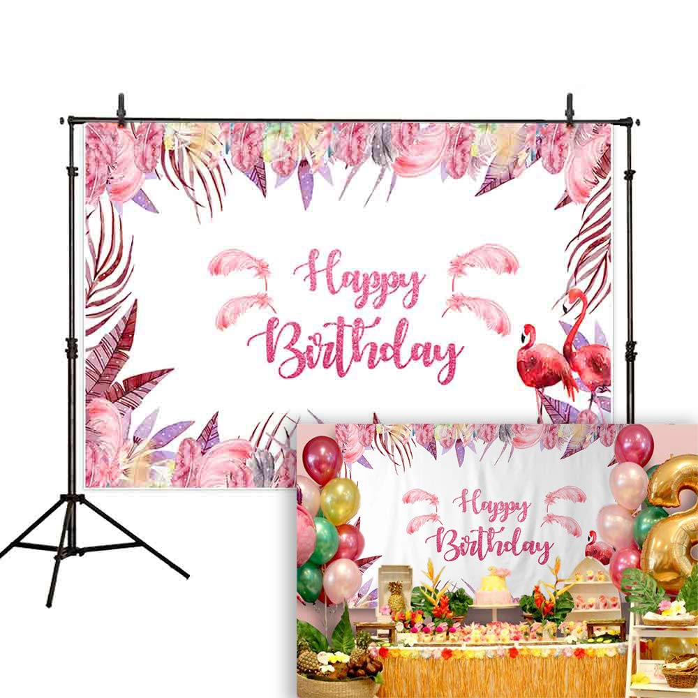 Allenjoy 7x5ft Summer Flamingo Party Backdrop Pink Feathers Flamingo junglle Party red hot Feather Holiday Birthday Party Sweet Girl Background ...