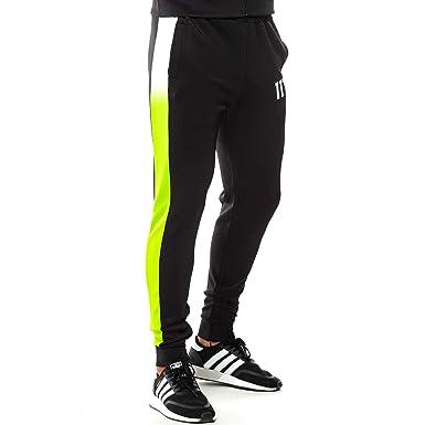 11Degrees Pantalon Chandal Negro Franja Blanca y Amarillo Fluor (L ...