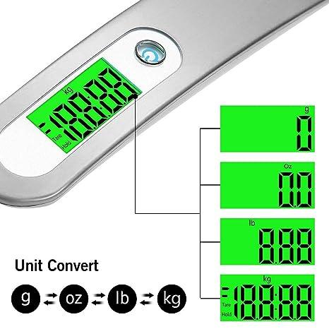 OTraki Báscula Digital para Equipaje, Balanza Precisión Portátil para Viaje, Pantalla LCD Verde Pesa Maletas con Función de Bloqueo de Tara/Datos, ...