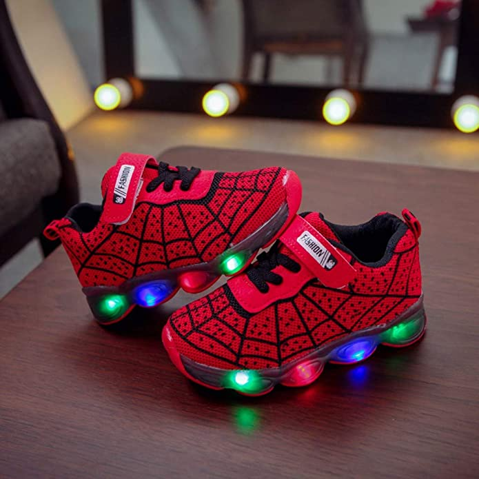 Toddler Kids Baby Boys Cartoon Led Light Luminous Sport Sneakers Spider Web Lace Up Lightweight Trainer Anti-Slip Comfortable Bottom Sneakers Trainers Wear Resistance Flashing Walking Shoes