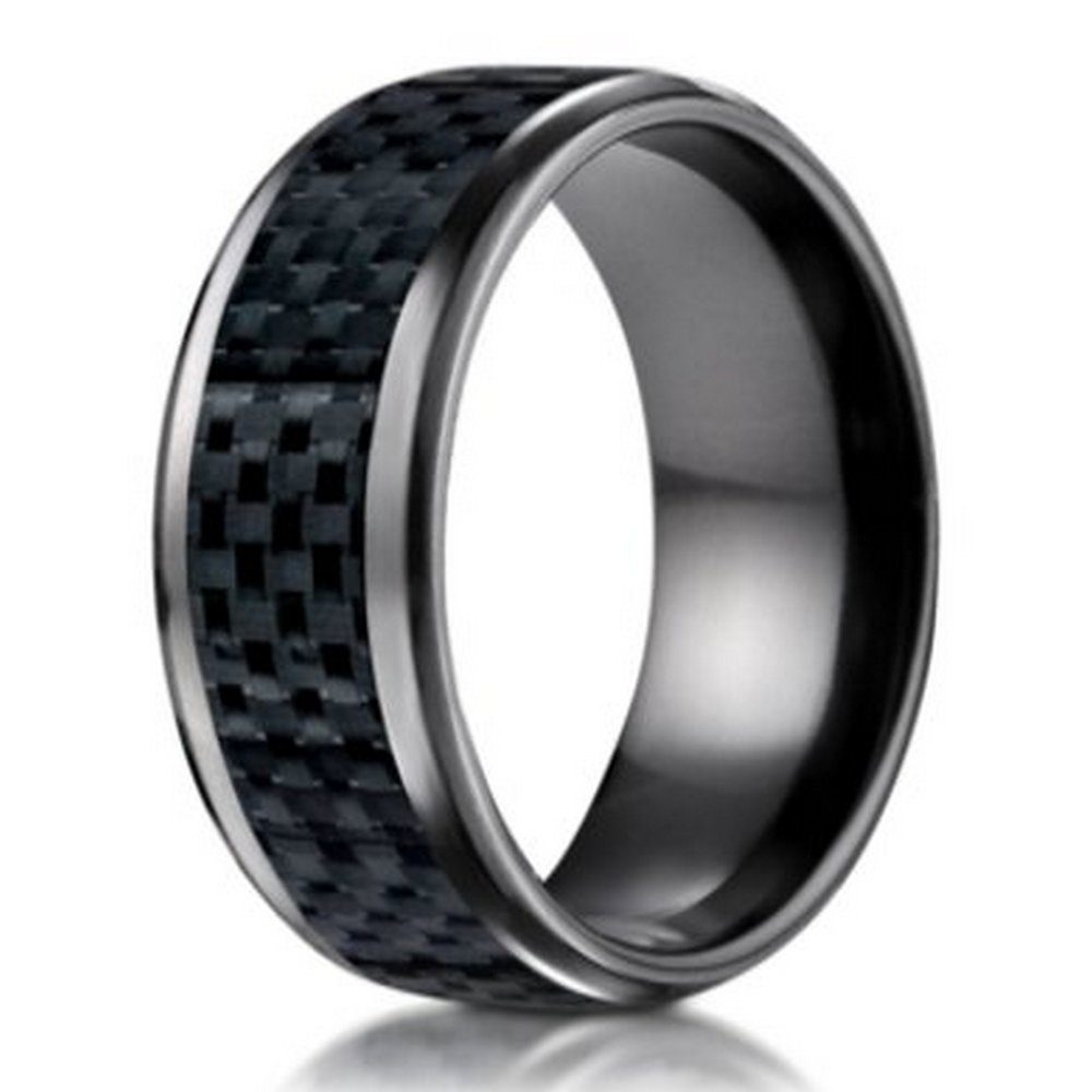 Benchmark Black Titanium Wedding Ring with Carbon Fiber Inlay | 8mm Size 9.5