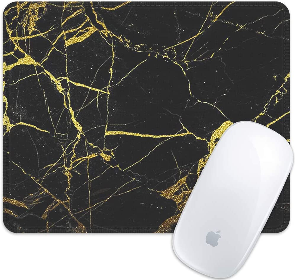 Marphe Mouse Pad Black Gold Marble Pattern Mousepad Stitch Edge Non-Slip Rubber Gaming Mouse Pad Rectangle Mouse Pads for Computers Laptop