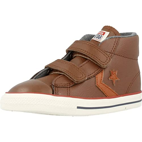 Converse - Star player 3v leather mid, unisex-niños, color- Marrón, talla- 22
