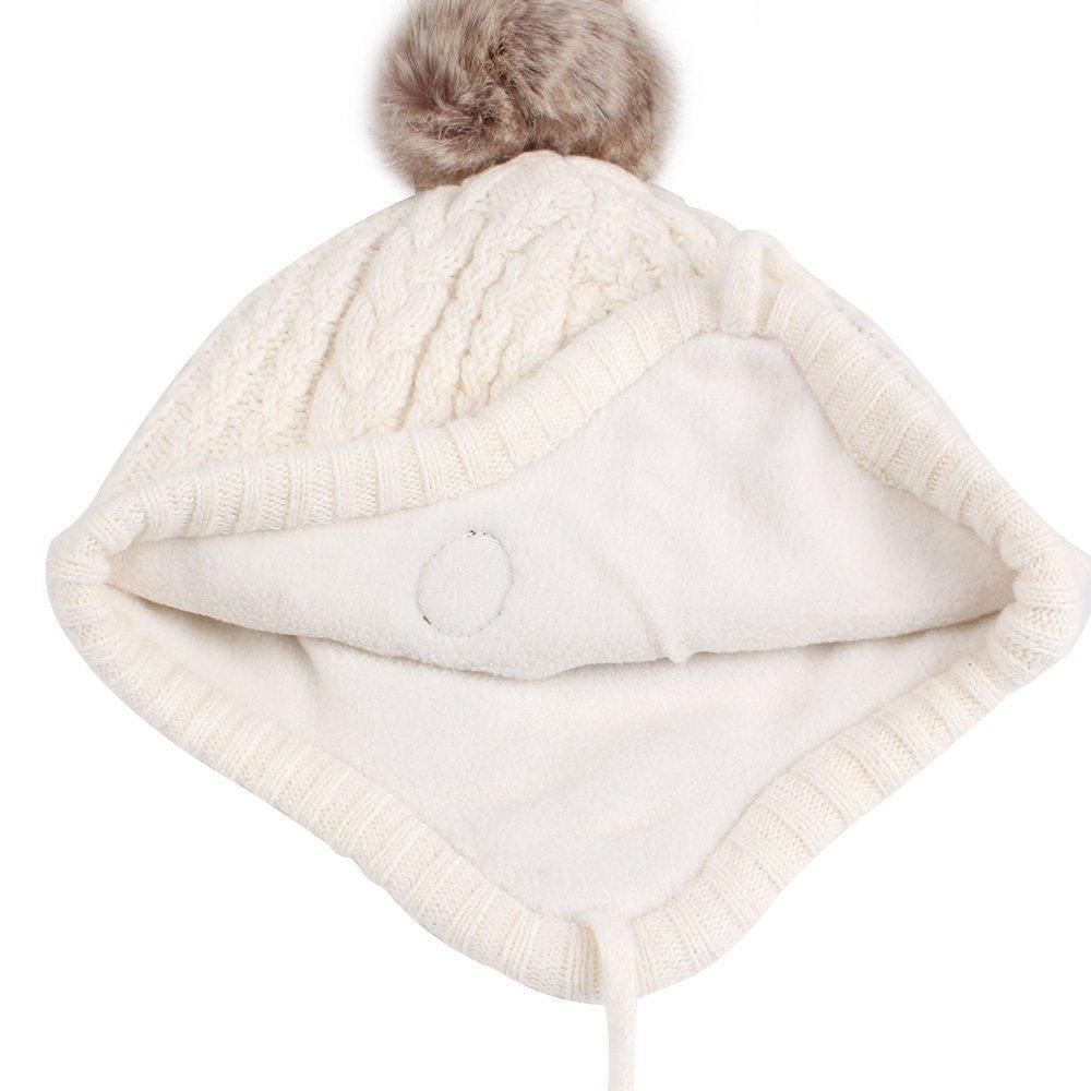 Tukistore Unisex Bimbo in pile lavorato a maglia per bambina inverno caldo Cappello invernale per neonato berretto invernale Berretto in maglia per beb/è