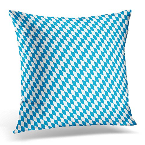over Blue Bavaria Oktoberfest Bavarian Flag Pattern White Diamond Traditional Decorative Pillow Case Home Decor Square 16x16 Inches Pillowcase (Bavaria Square Print)