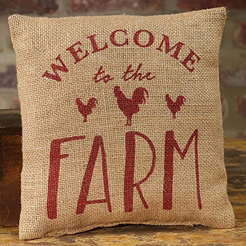 8 x 8 Burlap Decorative Throw Pillow ()