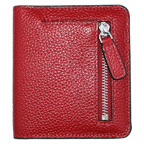 Women's RFID Blocking Small Genuine Leather Wallet Ladies Mini Card Case Purse (Wine Red)