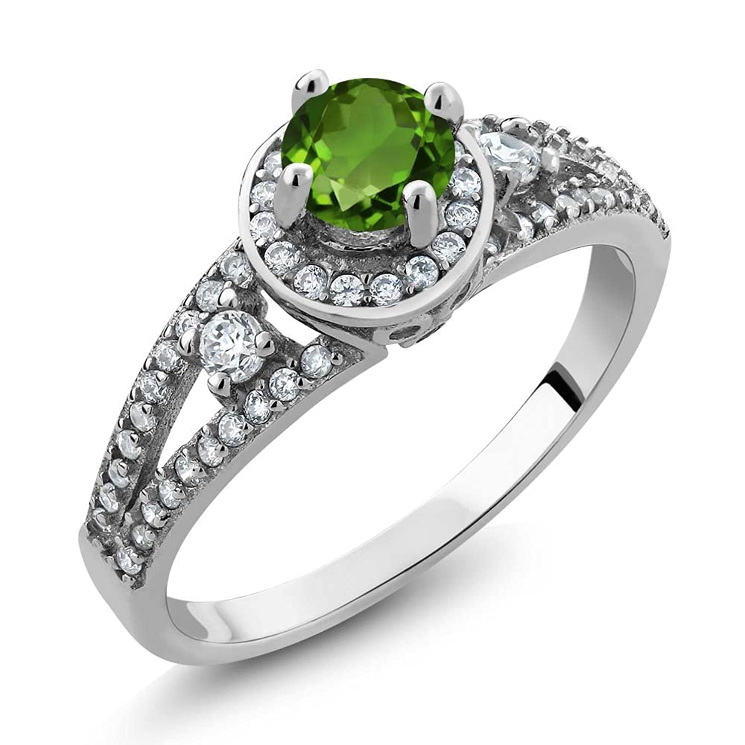 1.44 Ct Round Green Chrome Diopside 925 Sterling Silver Women's Ring (Available in size 5, 6, 7, 8, 9)