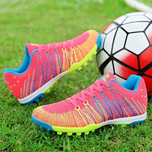 Xing Lin Fußballschuhe Neue Mädchen Fussball Schuhe Kaputt Nägel Künstliche Gras Rutschfeste Verschleiß Kleiner Hof Kinder Schüler Sportschuhe, 32 Kleine Werft 20,4 Cm, Rose Red Ribbon 528
