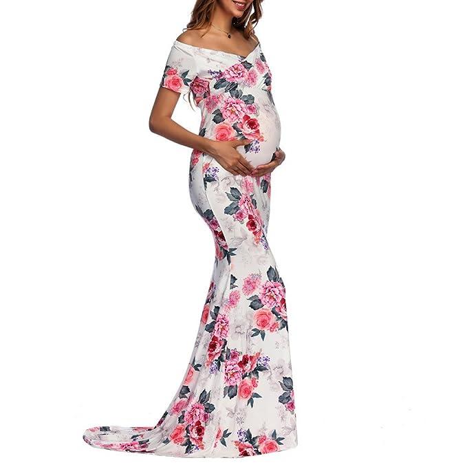 ALIKEEY Womens Off - Hombro Vestido Largo Estampado Fotografia Embarazadas Maternidad Enfermeria Maternidad Verano Mujer Ropa