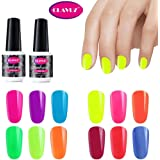 CLAVUZ Soak Off Fluorescent Luminous Nail Polish UV LED Night Glow In Dark Gloss Semic Permanent 12 Bottles Gift Set 8ML