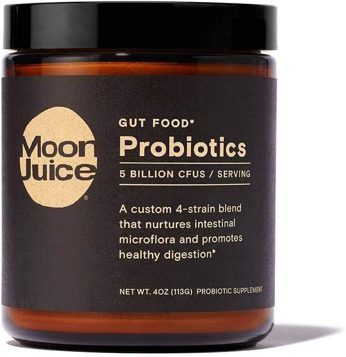 Moon Juice - Probiotics - Probiotic Supplement (Custom 4 Strain Blend, 5 Billion CFUs) for Gut Health, Digestion, Immune Support & Energy Support - Vegan, Non-GMO, Gluten-Free (4oz, 45 Servings)