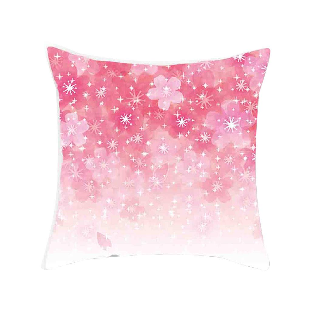 Simple Fashion Floral Print Decorative Pillow Covers Soft Soild Square Throw Pillow Cases Cafe Sofa Cushion Cover Home Decor 45 x 45 cm (Pink -C, R)