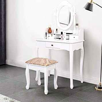 Amazon Com Simplyusahello White Vanity Makeup Dressing Table With Rotating Mirror 3 Drawers Furniture Decor