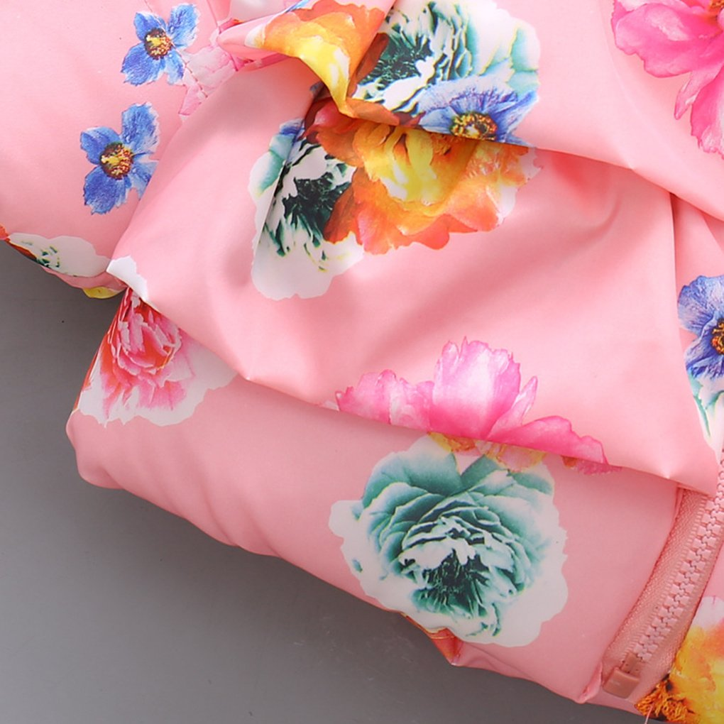 Newest Girls Winter Coats Baby Jacket Hooded WAM Floral Outerwear Kids Parkas Cotton-Padded Coats