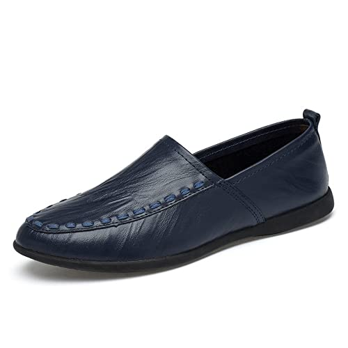 Mocasines de Cuero Genuino de los Hombres Slip on Suede Plantilla Loafer: Amazon.es: Zapatos y complementos
