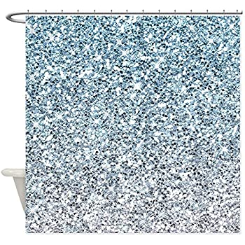 Amazon.com: Faux Silk Fabric Shower Curtain with Silver Sequin ...