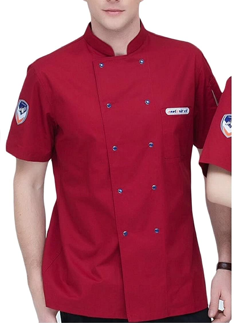 Jaycargogo Mens Summer Short Sleeve Double-Breasted Breathable Over Size Chef Clothes