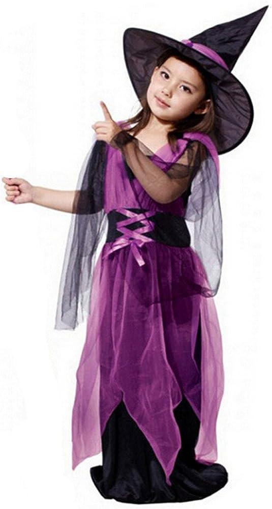 BBSMILN Disfraz Bruja Niña 3-15 años Disfraces de Halloween ...