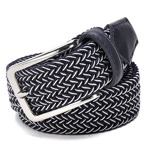 Elastic Stretch Belt Canvas Braided Leather Metal Stretch Belt Men