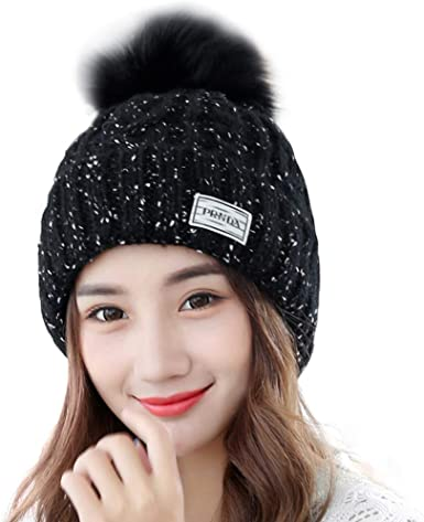 WOMEN'S TOP QUALITY WINTER BOBBLE KNITTED LINED BEANIE HAT FAUX FUR POM POM