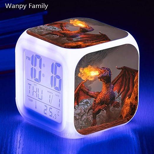 Zhuhuimin Reloj Despertador LED de Dinosaurio 7 Colores