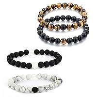 MJARTORIA Homme Femme Bracelet de Main Bouddhiste Perle Pierre d'Energie Protection 2PCS/4PCS