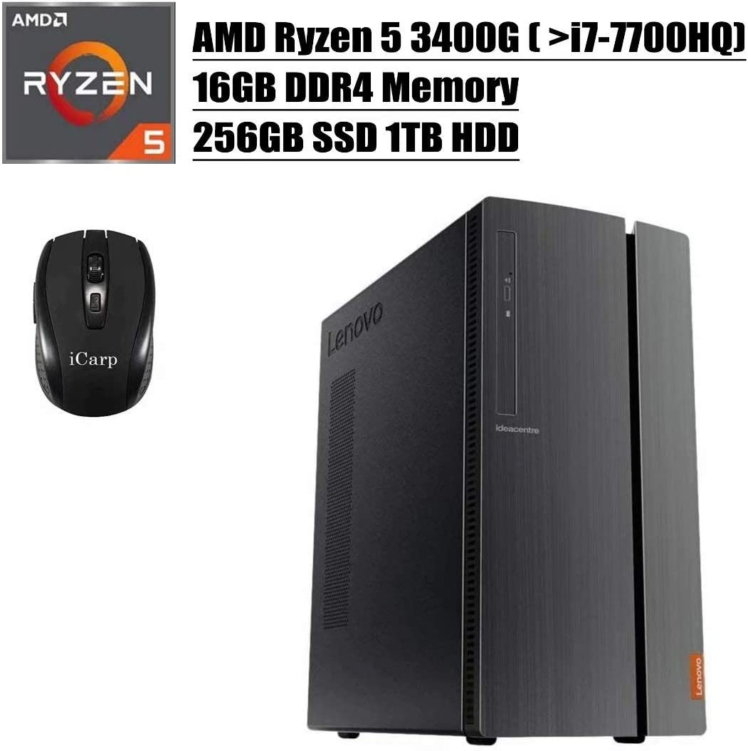 2020 Newest Lenovo IdeaCentre 510A Desktop Computer, AMD Quad-Core Ryzen 5 3400G (Beats i7-7700HQ), 16GB DDR4 256GB SSD 1TB HDD, DVD HDMI WiFi Wired Keyboard and Mouse Win 10 + iCarp Wireless Mouse