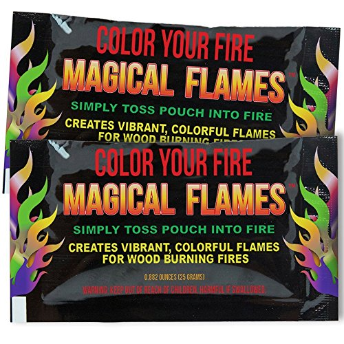 Evergreen Research Magical Flames: Creates Vibrant, Colorful Flames for Wood Burning Fires! (10) (Blue Flame Stuff)