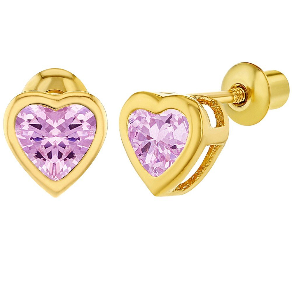 18k Gold Plated Pink CZ Small Heart Screw Back Toddlers Girls Earrings In Season Jewelry