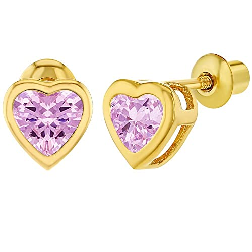 6a4a1554b Image Unavailable. Image not available for. Color: 18k Gold Plated Pink CZ  Small Heart Screw Back Toddlers Girls Earrings