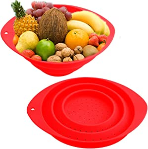 Collapsible Colander,2 Pcs Round Silicone Foldable Food Strainer,Portable Drainer Kitchen Basket Sieve Colander for Veggies,Fruits and Pasta(Red)