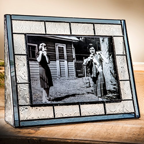 - J Devlin Pic 159-57H Blue Stained Glass Picture Frame Tabletop 5x7 Horizontal Photo Frame for Family Photos
