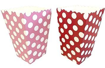 San Valentín cajas de palomitas de maíz, color rojo, blanco, rosa - Polka Dot Pattern- 24 unidades: Amazon.es: Hogar