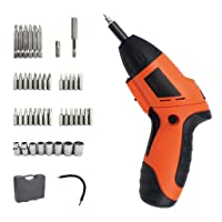 Cordless Screwdriver Set, Rechargeable 4.8V 600mAh Ni-Cr Battery, 45pcs Accessories Carrying Box, Multifunctional,Anti-shock & Moisture-proof Design, Extension Bar,Bits, Built-In LED Lights