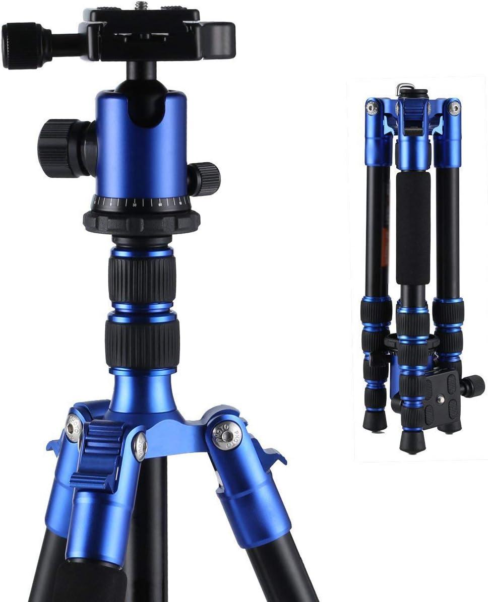 Orange DZSM Magnesium-Aluminum Camera Tripod Kit with Fluid Head and Detachable Feet 65-Inch Maximum Load 26.4 Lb Monopod for Digital SLR Cameras