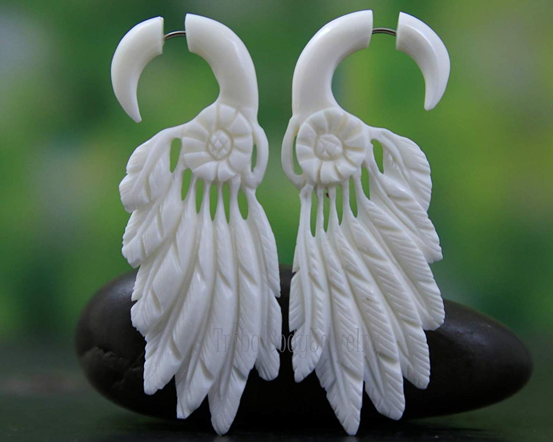 Amazon Com Cheater Gauges Hand Carved Bone Feather Earrings Handmade