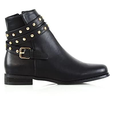 e6281463f41a ESSEX GLAM Womens Ankle Boots Flat Black Synthetic Leather Studded Straps  Zip Chelsea Boots 5 B
