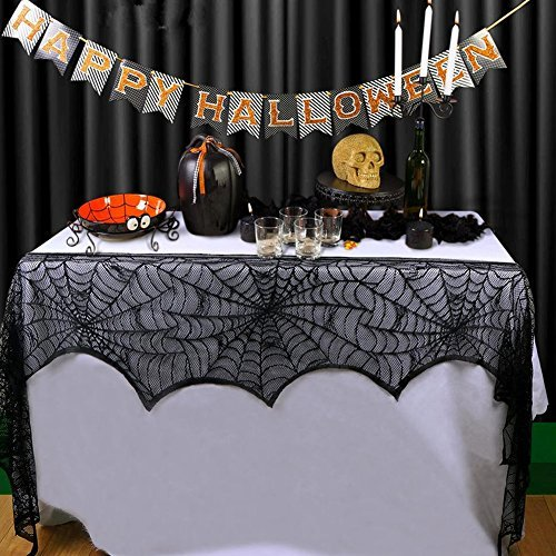 Cover Mantle (Halloween Decoration Black Lace Spiderweb Fireplace Mantle Scarf Cover Festive Party Decoration Supplies 18 x 96inch)